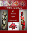 12 Wooden Roses - Choose Colour Required ( 37 - 69 )