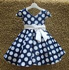 NEW GIRLS Baby Kid's Short Sleeve Dark Blue Polka Dot Princess Party Dress