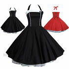 Maggie Tang 50s Pinup Retro VTG Housewife Rockabilly Black Red Swing Dress K508
