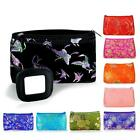 SILK MAKEUP BAG w MIRROR Soft Travel Case Purse Brocade Fabric CHOICE OF COLORS