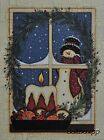 "KH2038 Snowman Window Kathy Hunter 12""x16"" framed or unframed print art"