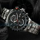 New Men's Analog Quartz Date Sport Army Black Stainless Steel Wrist Watch