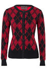 VOODOO VIXEN RED AND BLACK LADIES CARDIGAN ROCKABILLY 50'S PIN UP VINTAGE GOTHIC