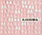 Cute Puffy White Pink Bows 3D Nail Art Stickers UV Acrylic Nails Decorations