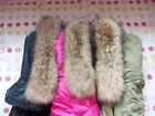 New Real 100% Farm Russia Fur Down Jacket Tanuki Collar Natural Yellow Pageant