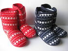 Ladies SIZE 3 - 8 Bootee Slippers Red Navy Blue Knitted NEW Womens Boots