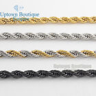 "18-36""Men's Stainless Steel Gold Silver Black 3.5/5mm Rope Necklace Chain Link"