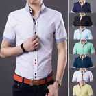 CA Mens Slim Fit Tee Dress Casual Short sleeve ShirtS Double Color Button