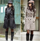 B Hot Women Fashion Long Sleeve Slim Trench Double Breasted Coat Jacket Outwear