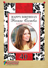 Personalised Red & Black Birthday Party PHOTO Poster Banner N40. A4 or A3 Size