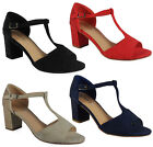 NEW WOMENS LADIES MID BLOCK HEEL T-BAR PARTY GOING OUT SHOES SANDALS SIZE 3-8