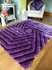 SMALL X LARGE PURPLE THICK SILKY SOFT HAND CARVED LUXURY BRIGHT SHAGGY AREA RUG