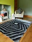 SMALL LARGE SILVER THICK SILKY CARVED LUXURIOUS SOFT SHAGGY LIVING AREA RUGS MAT