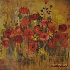 "AR006 Red Flowers I Alan Hopfensberger 18""x18"" framed or unframed print"