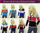 Women Ladies Cardigan Multicolor Striped Buttoned V Neck Cardigan Size 8 10 12