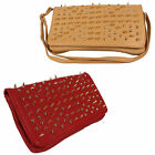 NEW WOMENS LADIES CLUTCH BAG FULL STUD GOTHIC SPIKE PUNK BIKER CHIC DESIGN