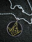 Sterling Silver Freemason Symbol Square and Compass Illuminati Masonic NECKLACE