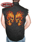 FLAME FACEOFF Sleeveless Denim Shirt Biker Cut Fire Skull ~ Flames Skulls