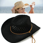 Mens Unisex Western Style Wide Brim Straw Cowboy Hat Summer Beach Hat party Cap