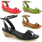 Ladies Gladiator Sandals Womens Low Wedge Strappy Fancy Summer Beach Shoes Size