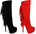 NEW WOMENS LADIES TASSLE HIGH STILETTO HEEL MID CALF ZIP PLATFORM BOOTS SIZE 3-8