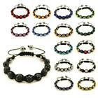 SPARKLING CRYSTAL BEAD BRACELET 10mm Shamballa Style Pave Disco Ball Hip Hop NEW image