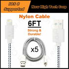 LOT 5x 6FT NEW Braided Nylon Data Syncing Charger Cables Fits iPad Air iPad Mini