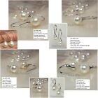 Freshwater AAA white pearl sterling silver 925 earrings dangles