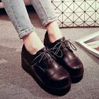 New Round Toe PU Leather Lace Up Wedge Platform High Heel Casual Fashion Shoes