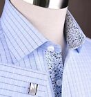 Men Blue Business Shirt Floral Twill Luxury Fashion Sexy Boss Style Stripe Check