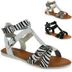 NEW WOMENS LADIES GIRLS FLAT STRAPPY SLIP ON FASHION SANDALS SHOES FLATS SIZ 3-8