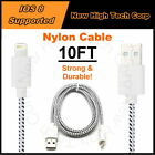 10FT Nylon Braided Data Syncing Charging Cables Cord Fits ALL iPad Mini iPad Air