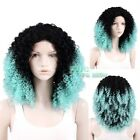 "18""-28"" Long Black With Aqua Blue Spiral Curly Lace Front Synthetic Wig"