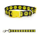 SMILEY FACE Dog Collar & Lead Sets - Cute Yellow & Black Happy Dog Walking Gear