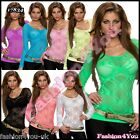 Sexy Women's Blouse Ladies Summer Fishnet Long Sleeve Top One Size 6,8,10,12 UK