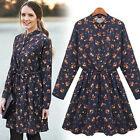 Navy Long Sleeve Floral Pleated Dress Party Ladies Skater Prom Top Size XS S M L