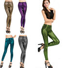 H Fashion Women Tinsel Scale Fish Mermaid Skinny Leggings Trousers Stretch Pants