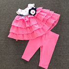 2pcs Infant Baby Girl's Toddler Dot Pink Cake Layered Dress+Legging Sets Age0-5T