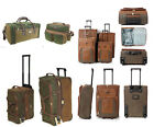 Lightweight Tan Green Faux Suede Suitcase Cabin Bag Trolley Hand Luggage Wheels