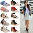 WOMENS CANVAS GIRLS FLAT LACE UP FUNKY PUMPS PLIMSOLLS TRAINERS LADIES SHOES SIZ