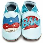 Inch Blue Girls Boys Luxury Leather Soft Sole Baby Shoes - Superhero Baby Blue