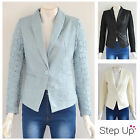 NEW Womens Collared Synthetic Leather Floral Sleeved Blazer