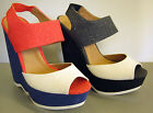 LADIES WEDGE SLING BACK SHOES ( SPOT ON F10093)