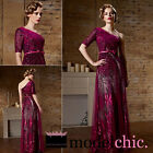 Magenta One Shoulder Sequin Evening Prom Bridesmaid Ball Wedding Gown Maxi Dress