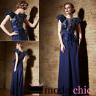 Blue Chiffon Puff Sleeve Evening Prom Bridesmaid Ball Wedding Gown Maxi Dress