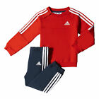 adidas 3 Stripe Jogger Infant Kids Tracksuit Set Red