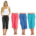 LADIES TOM FRANKS CASUAL 3/4 CROP LINEN TROUSERS SUMMER VARIOUS COLOURS NEW