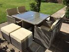 RATTAN CUBE SET 4/8 SEATER ALUMINIUM GARDEN FURNITURE BROWN WITH PARASOL HOLE