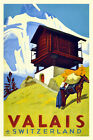 Vintage Swiss Travel Poster Valais 1930s Mountains Retro Picture Framed Art Deco