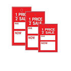 100 Sale Swing Tickets 1/2 PRICE SALE WAS NOW Label For Use With Tagging Gun